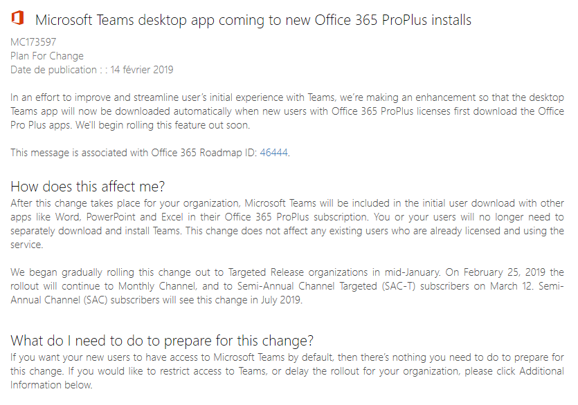 Teams Office 365 Pro Plus Click to Run MC173597